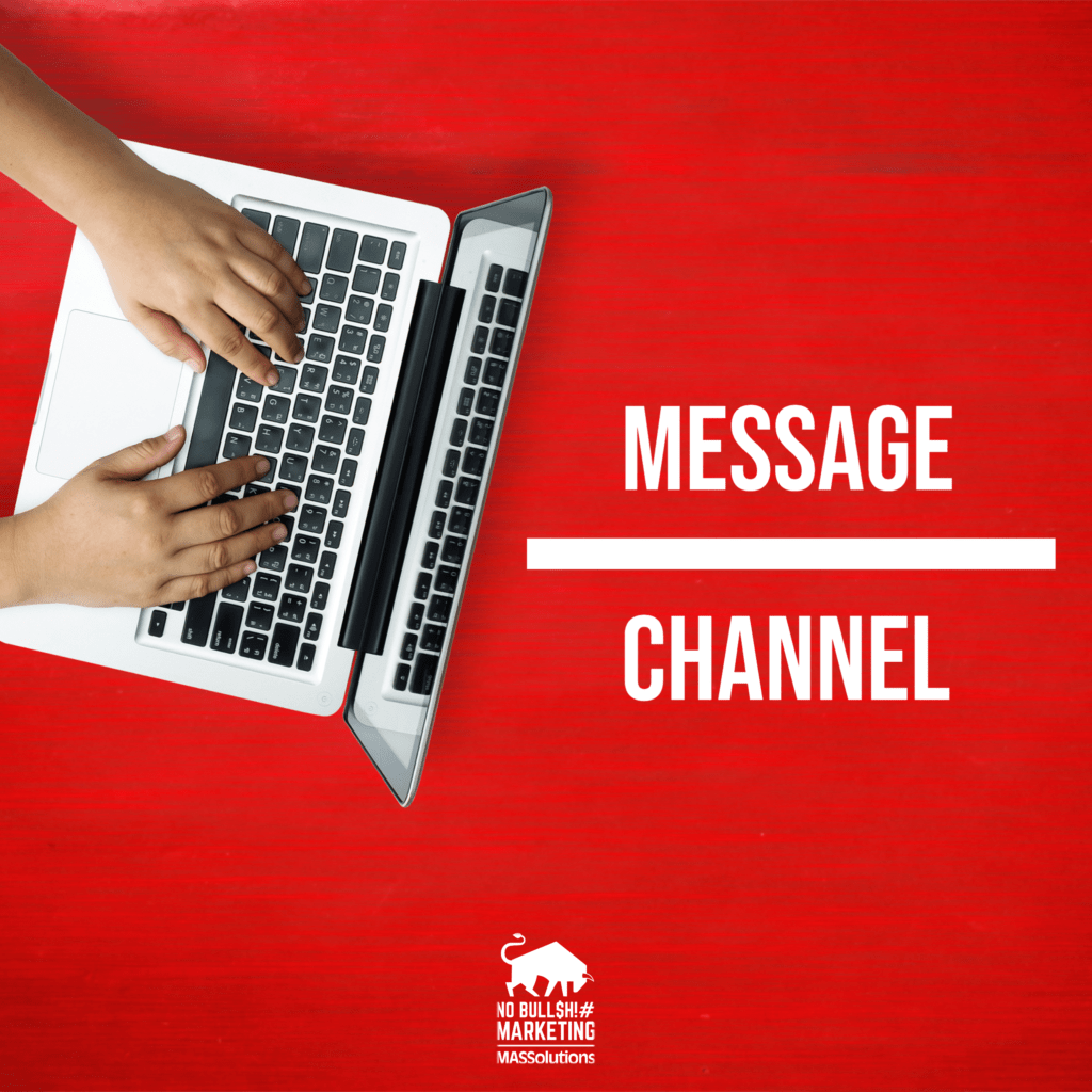 """Red background with a person typing on a Macbook with Text """"Message Over Channel"""" Being used for a blog titled, """"The Message Matters More Than the Channel"""""""